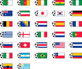 Soccer flag icons illustrated set of football or on white background Royalty Free Stock Photography
