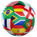 Soccer with flags from world cup 2010 Royalty Free Stock Photos