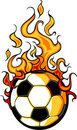 Soccer Flaming Ball Vector Cartoon Royalty Free Stock Image
