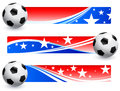Soccer football ball with american banners original vector illustration ai compatible Royalty Free Stock Photo