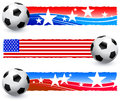 Soccer football ball with american banners original vector illustration ai compatible Royalty Free Stock Images