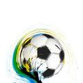 Soccer football ball background of brazil flag design Royalty Free Stock Images