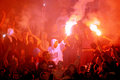 Soccer or football fans celebrating goal serbia belgrade may with torches during serbian cup final game between vojvodina and Royalty Free Stock Image