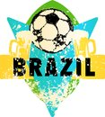 Soccer / Football fictional grungy emblem with soccer ball and b Royalty Free Stock Photo