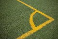 Soccer (football) field corner with yellow lines Royalty Free Stock Images