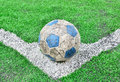 Soccer football field stadium grass line and ball Royalty Free Stock Photo