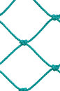 Soccer football goal post set net rope detail new green goalnet isolated netting ropes knots pattern vertical macro closeup large Stock Photo