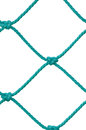 Soccer Football Goal Post Set Net Rope Detail, New Green Goalnet Netting Ropes Knots Pattern, Vertical Macro Closeup, Isolated Royalty Free Stock Photo