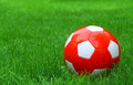 Soccer football and green grass Royalty Free Stock Image
