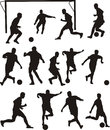 Soccer or football icons players silhouette Royalty Free Stock Photos