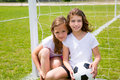 Soccer football kid girls playing on field sports outdoor Royalty Free Stock Photo