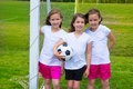 Soccer football kid girls team at sports fileld outdoor before match Royalty Free Stock Image