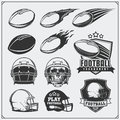 Soccer Football labels, emblems and design elements. Balls and helmets. Vector set. Royalty Free Stock Photo