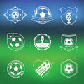 Soccer football labels set with blurred stadium background vector illustration sport design Royalty Free Stock Photo