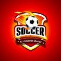 Soccer, football logo. Fire Red and black soccer football badge logo design template, sport logotype template.