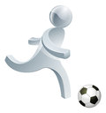 Soccer football person mascot silver man about to kick a ball really hard Royalty Free Stock Images