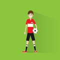 Soccer football player with ball flat icon design