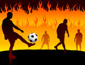 Soccer football player on hell fire background original vector illustration Royalty Free Stock Images