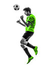 Soccer football player young man heading silhouette one in studio on white background Stock Photo