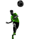 Soccer football player young man silhouette one in studio on white background Royalty Free Stock Photos