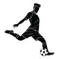 Soccer football silhouettes player Royalty Free Stock Photo