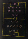 Soccer formation tactics on a blackboard Royalty Free Stock Image