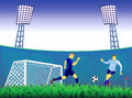 Soccer goal background with and players fight for ball Royalty Free Stock Photo