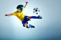 Soccer goal football kick striker scoring with accurate shot for brazil team world cup Royalty Free Stock Image