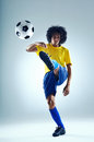 Soccer goal football kick striker scoring with accurate shot for brazil team world cup Stock Photography