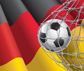 Soccer goal german flag with a soccer ball in net vector illustration Stock Photo