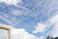 Soccer goal net on blue sky Royalty Free Stock Photos