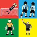 Soccer goalkeeper jumping players and referee showing red card Stock Photography