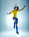 Soccer header fotball player ball with skill Stock Photo