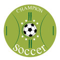 Soccer icon a ball of with stars around it in a green Stock Photo