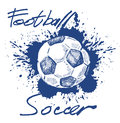 Soccer icon vector blue on white background Stock Image