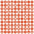 100 soccer icons hexagon orange