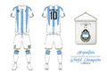 Soccer jersey or football kit. Argentin football national team. Football logo with house flag. Front and rear view soccer uniform.