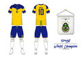 Soccer jersey or football kit. Brazil football national team. Football logo with house flag. Front and rear view soccer uniform.