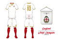 Soccer jersey or football kit. England football national team. Football logo with house flag. Front and rear view soccer uniform.