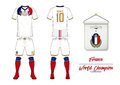 Soccer jersey or football kit. France football national team. Football logo with house flag. Front and rear view soccer uniform.