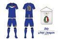 Soccer jersey or football kit. Italy football national team. Football logo with house flag. Front and rear view soccer uniform.