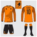 Soccer jersey or football kit, long sleeve, short, sock template
