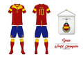 Soccer jersey or football kit. Spain football national team. Football logo with house flag. Front and rear view soccer uniform.