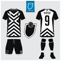 Soccer jersey or football kit template for football club. Short sleeve football shirt mock up. Front and back view soccer uniform.