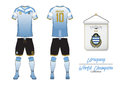 Soccer jersey or football kit. Uruguay football national team. Football logo with house flag. Front and rear view soccer uniform.