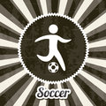 Soccer label over black background vector illustration Royalty Free Stock Image