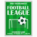 Soccer league poster. Design template for football sport invitation card on game. Vector. Royalty Free Stock Photo