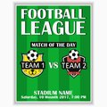 Soccer league poster. Design template for sport invitation card on game with football club logo. Vector. Royalty Free Stock Photo