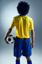 Soccer man challange world cup brazil standing ready to compete with ball Stock Photos