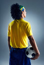 Soccer man challange world cup brazil standing ready to compete with ball Royalty Free Stock Image